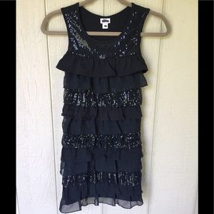 Justice Size 12 Black Sequin Ruffle Party Dress